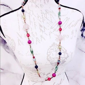 Pink Glass Beaded Festival Necklace